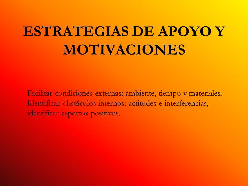 ESTRATEGIAS DE APOYO Y MOTIVACIONES