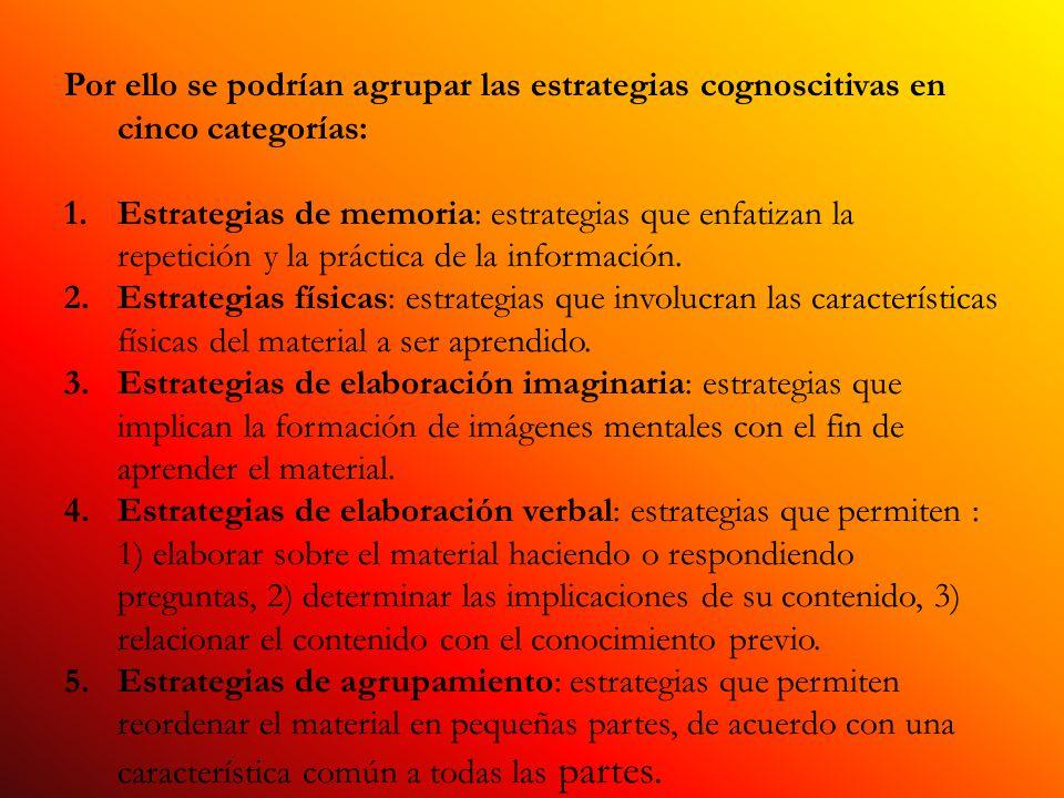 Por ello se podrían agrupar las estrategias cognoscitivas en cinco categorías: