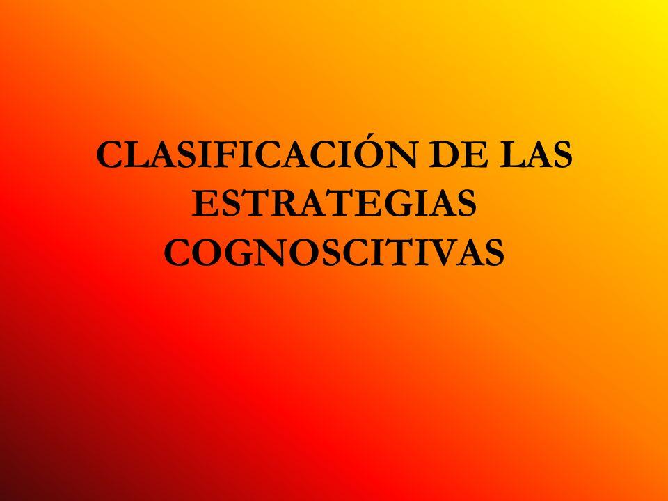 CLASIFICACIÓN DE LAS ESTRATEGIAS COGNOSCITIVAS