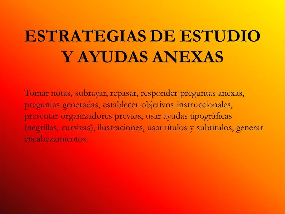 ESTRATEGIAS DE ESTUDIO Y AYUDAS ANEXAS