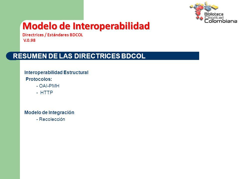 RESUMEN DE LAS DIRECTRICES BDCOL