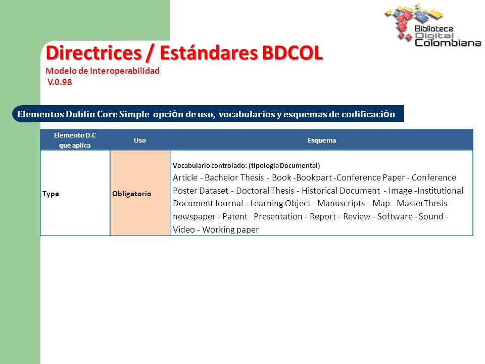 Directrices / Estándares BDCOL
