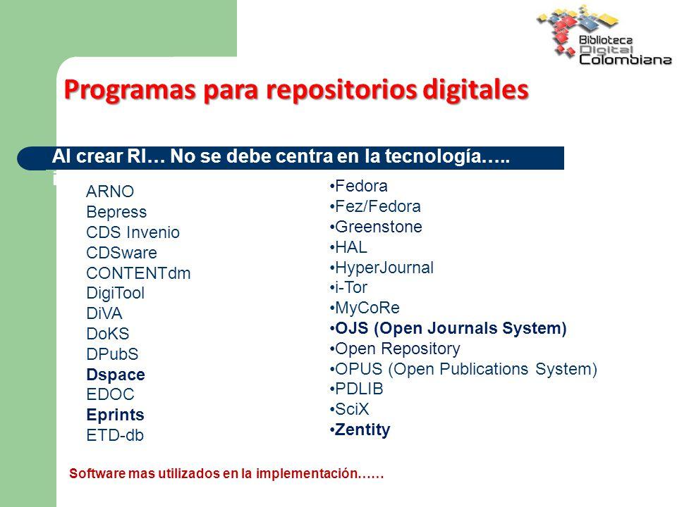 Programas para repositorios digitales