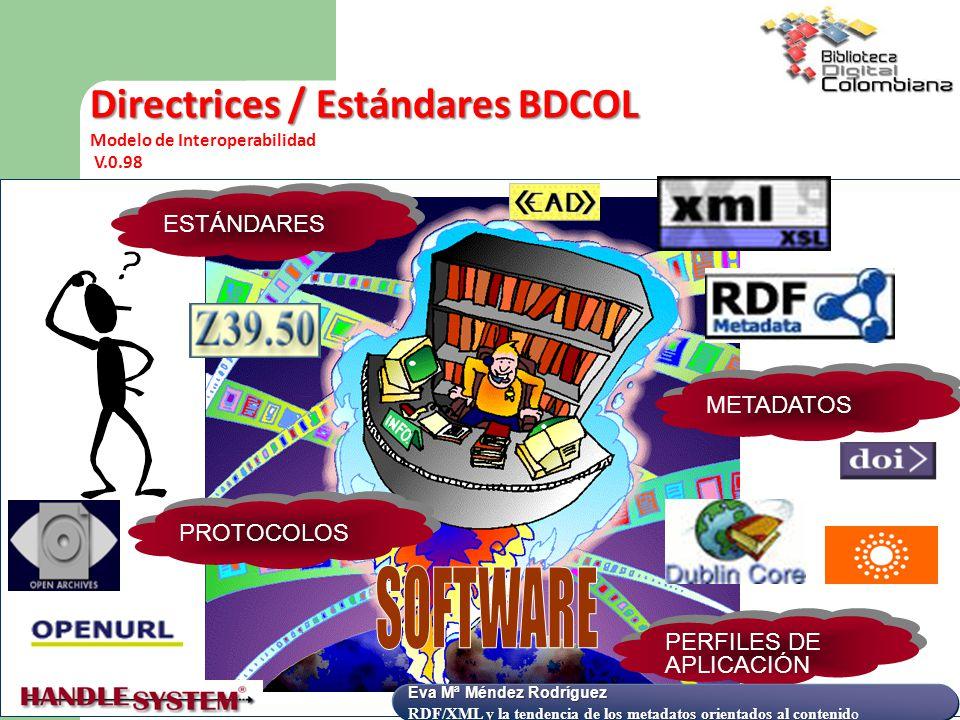 SOFTWARE Directrices / Estándares BDCOL ESTÁNDARES METADATOS