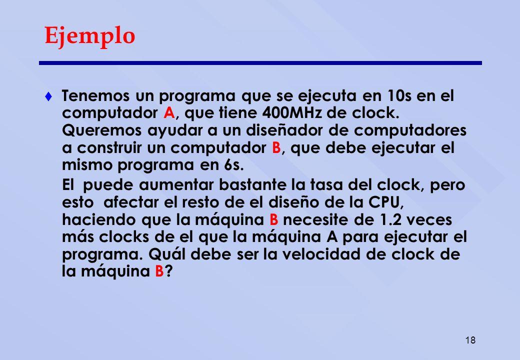 Solución Vamos calcular el número de ciclos de clock necesarios para ejecutar el programa en la máquina A.