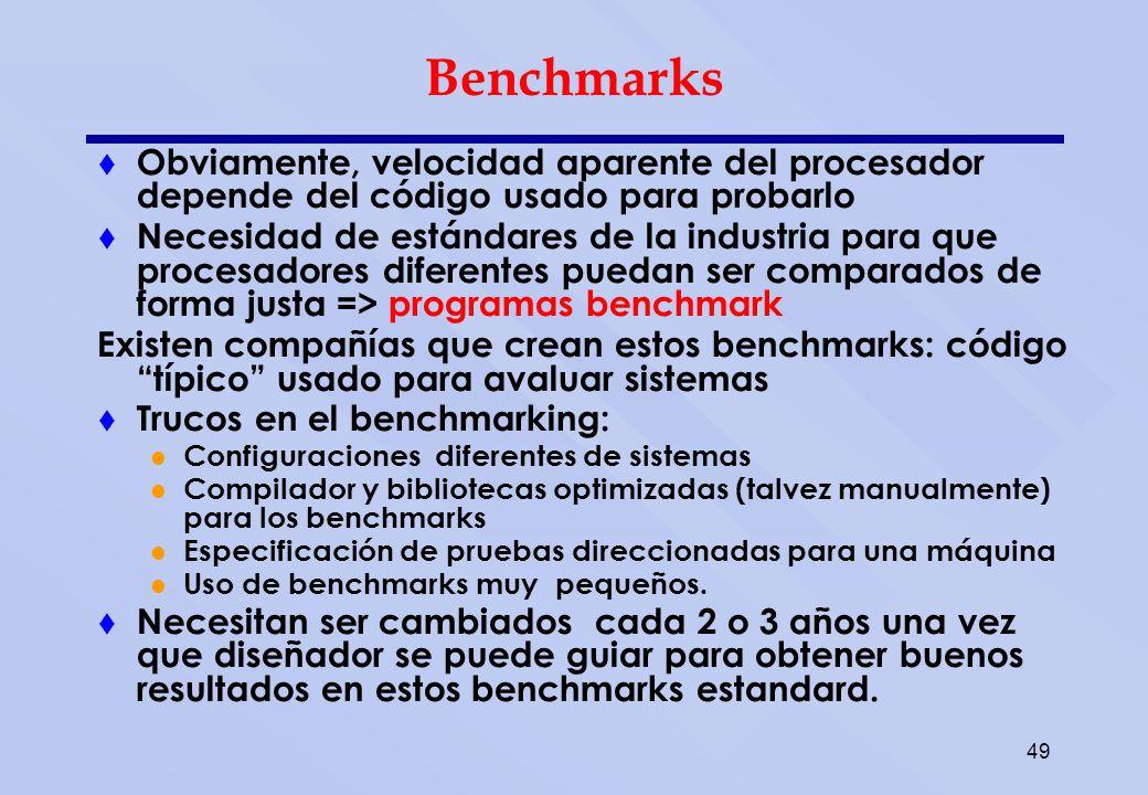 Exemplo de benchmarks con workloads patronizados: SPEC