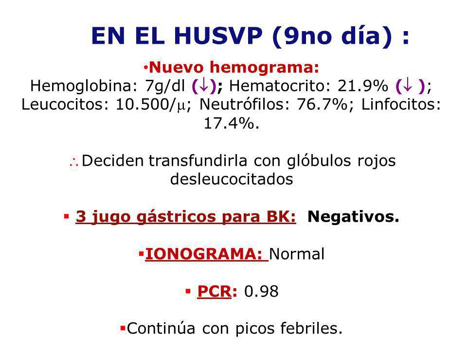 EN EL HUSVP (9no día) : Nuevo hemograma: