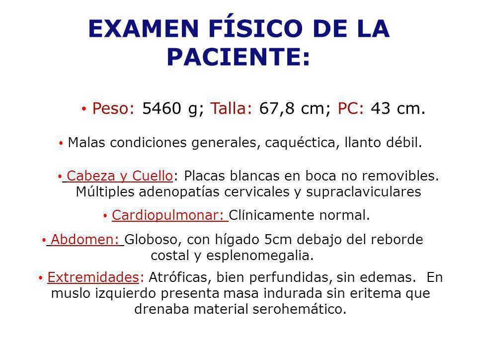 EXAMEN FÍSICO DE LA PACIENTE:
