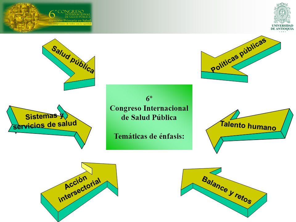 6º Congreso Internacional de Salud Pública Temáticas de énfasis:
