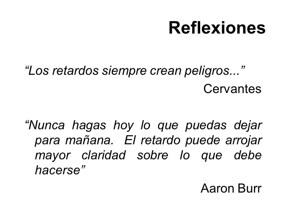 Reflexiones Los retardos siempre crean peligros... Cervantes