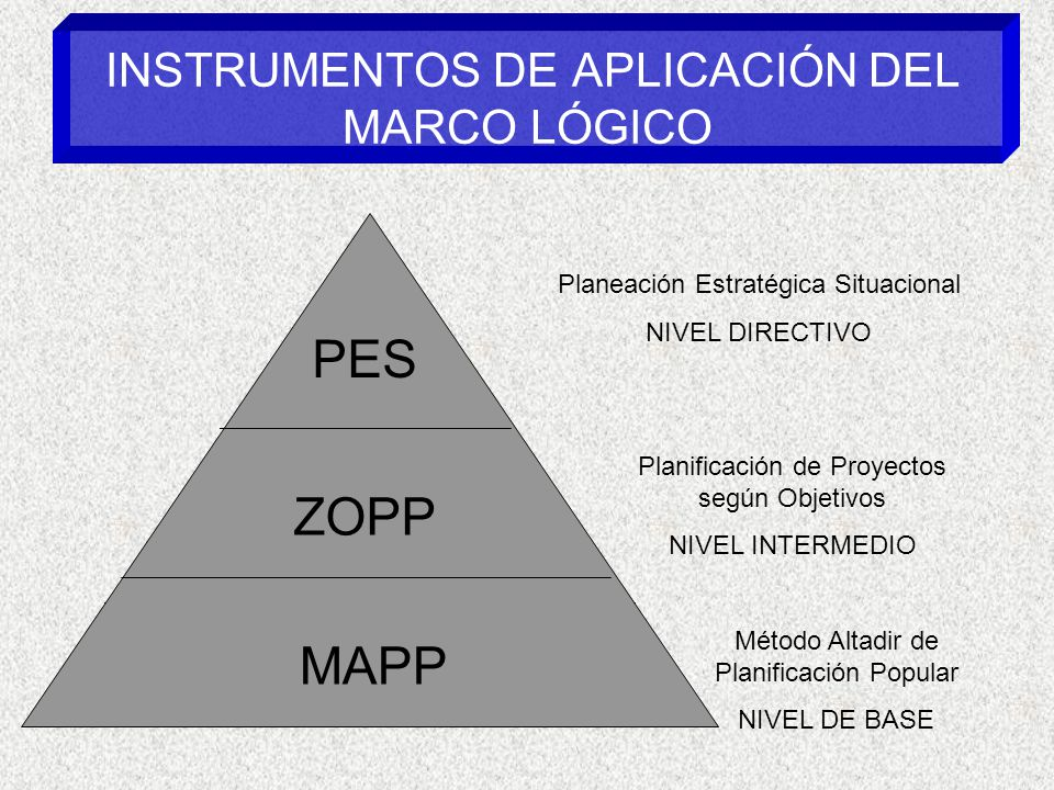 INSTRUMENTOS DE APLICACIÓN DEL MARCO LÓGICO