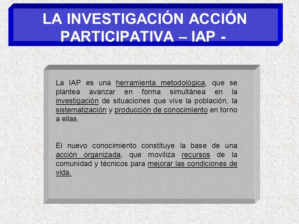 LA INVESTIGACIÓN ACCIÓN PARTICIPATIVA – IAP -