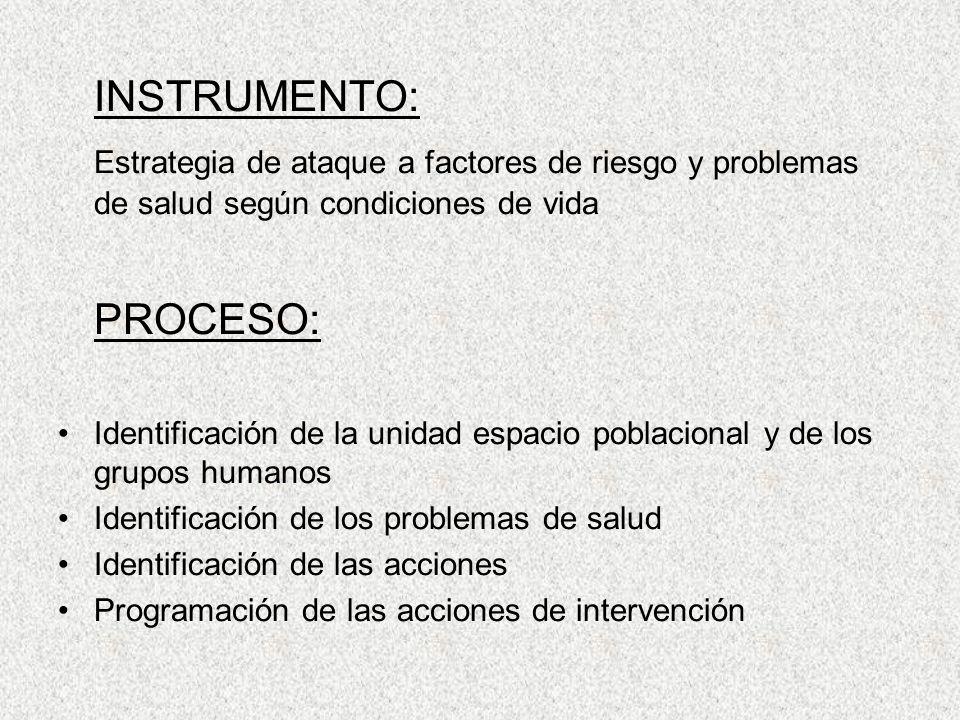 INSTRUMENTO: Estrategia de ataque a factores de riesgo y problemas de salud según condiciones de vida.