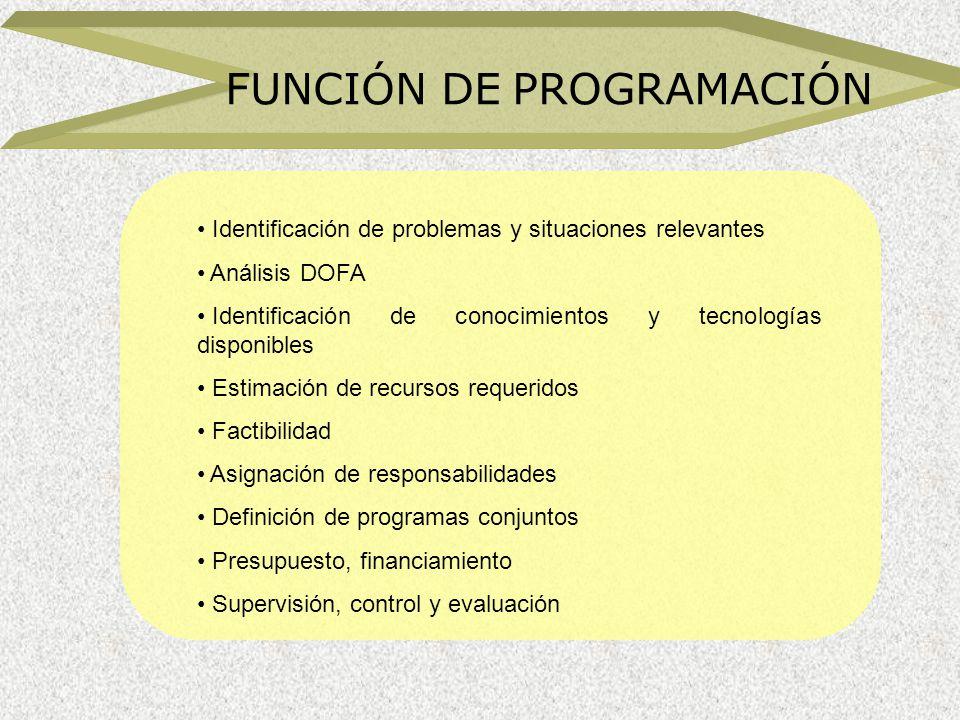FUNCIÓN DE PROGRAMACIÓN