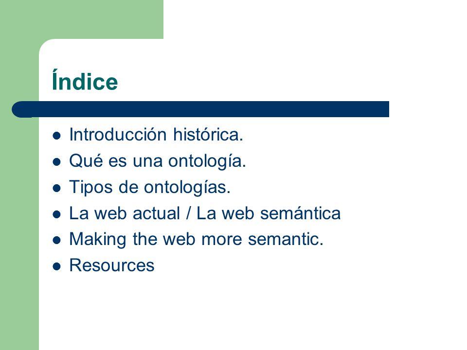 Índice Introducción histórica. Qué es una ontología.