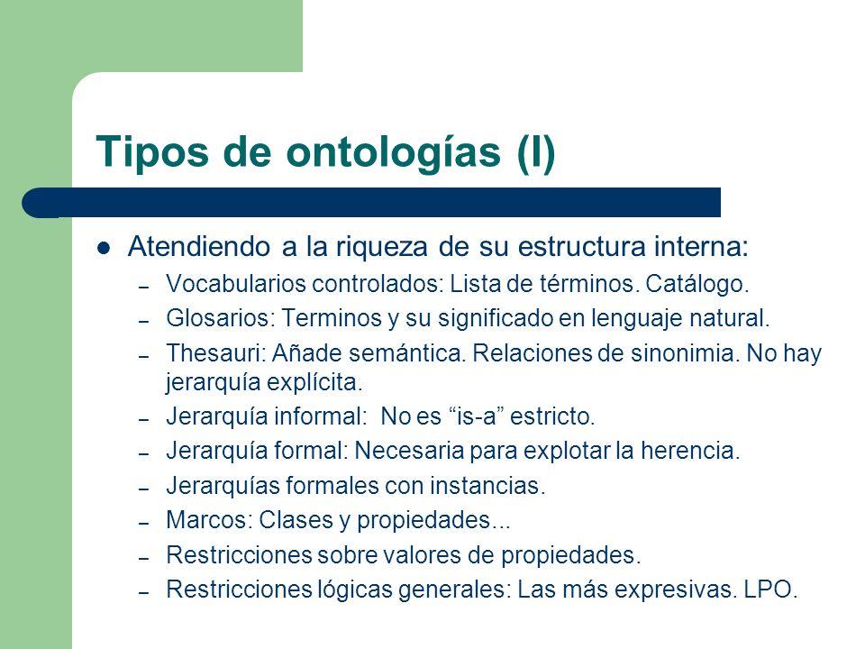 Tipos de ontologías (I)