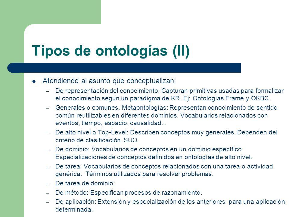 Tipos de ontologías (II)
