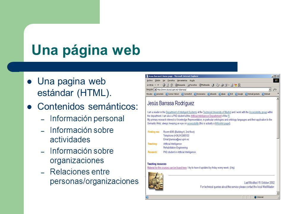 Una página web Una pagina web estándar (HTML). Contenidos semánticos: