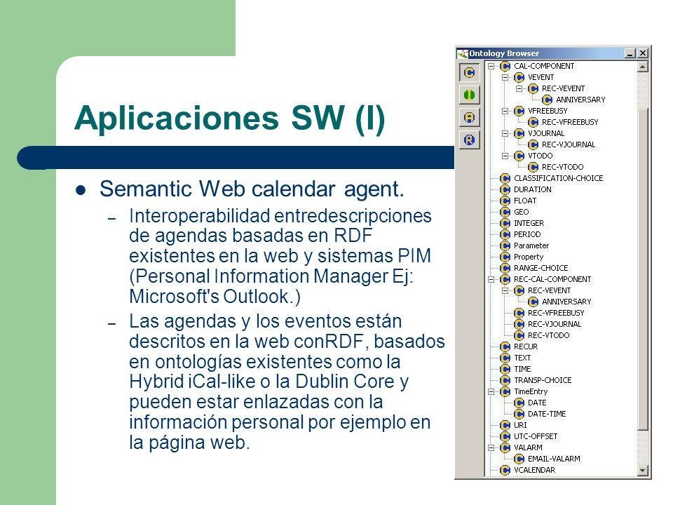 Aplicaciones SW (I) Semantic Web calendar agent.