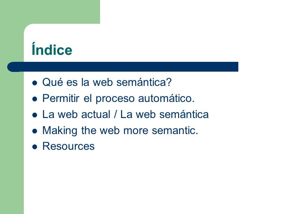 Índice Qué es la web semántica Permitir el proceso automático.