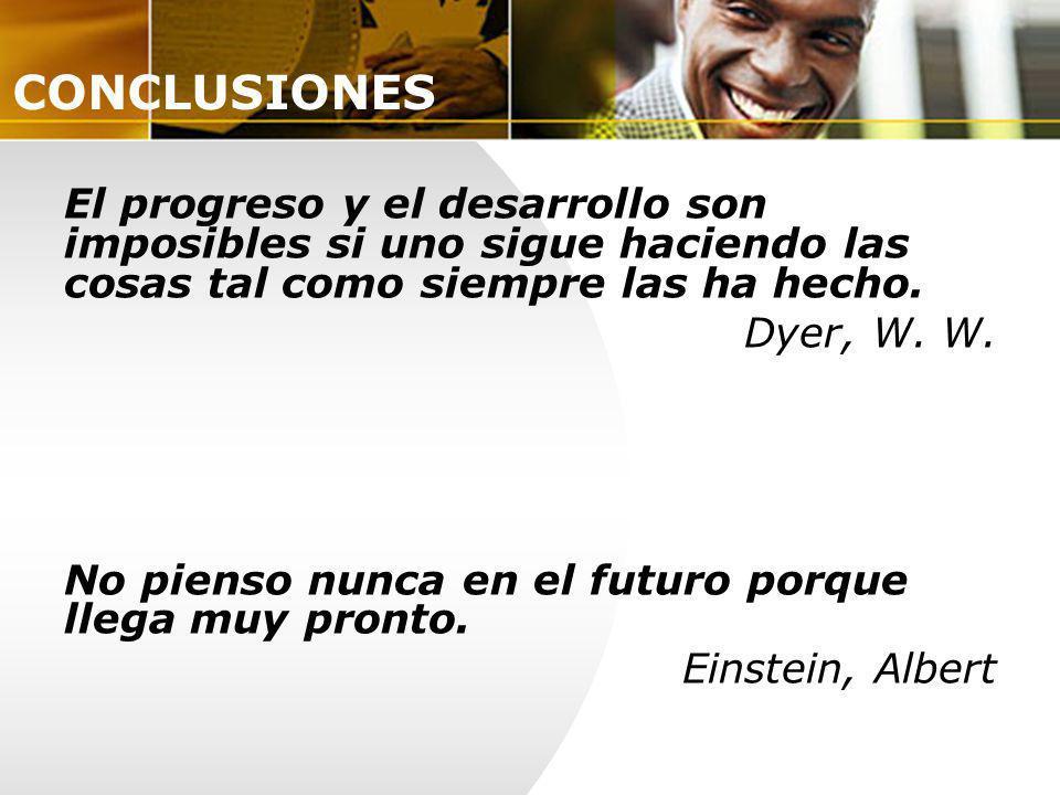 CONCLUSIONES El progreso y el desarrollo son imposibles si uno sigue haciendo las cosas tal como siempre las ha hecho.
