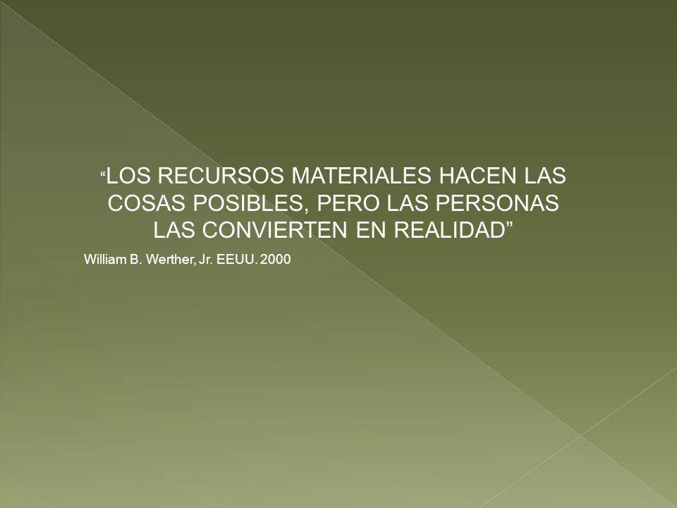 LOS RECURSOS MATERIALES HACEN LAS COSAS POSIBLES, PERO LAS PERSONAS LAS CONVIERTEN EN REALIDAD
