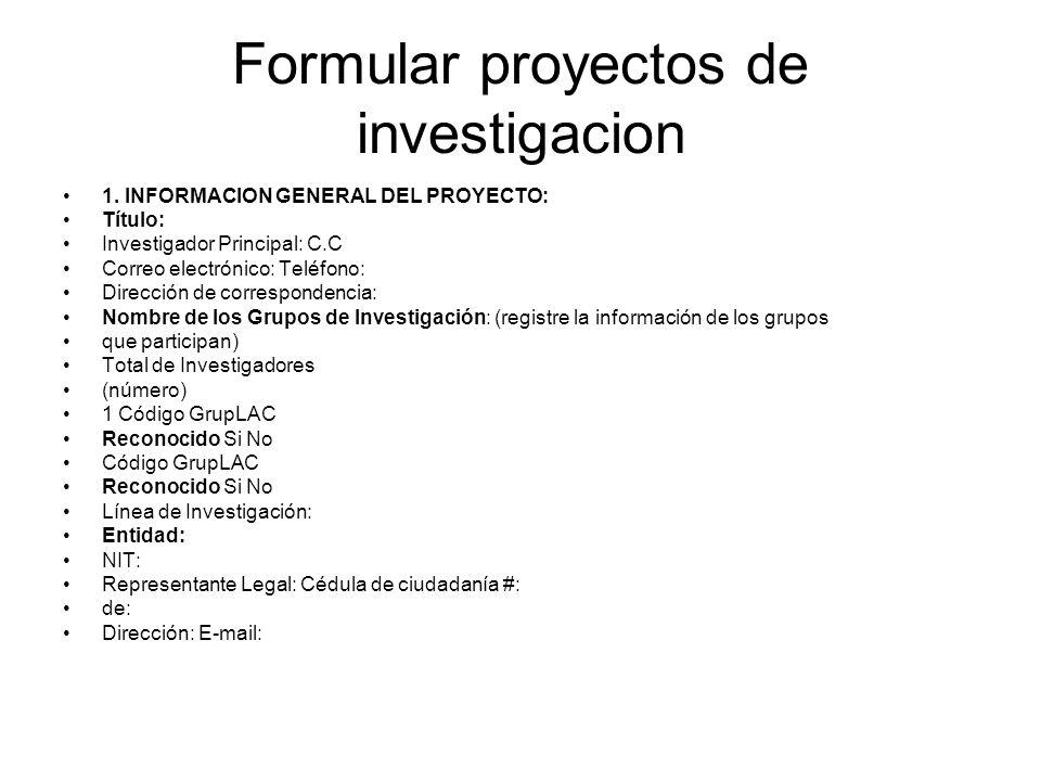 Formular proyectos de investigacion
