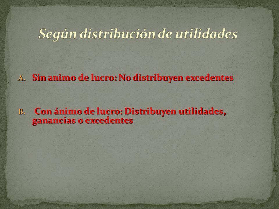 Según distribución de utilidades