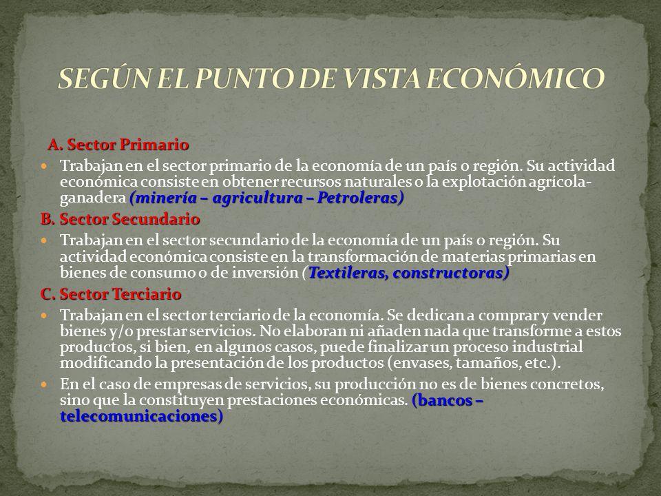 SEGÚN EL PUNTO DE VISTA ECONÓMICO
