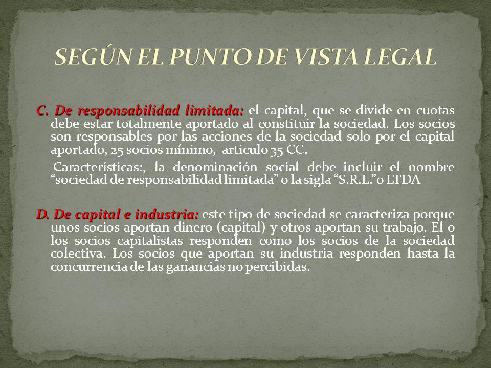 SEGÚN EL PUNTO DE VISTA LEGAL