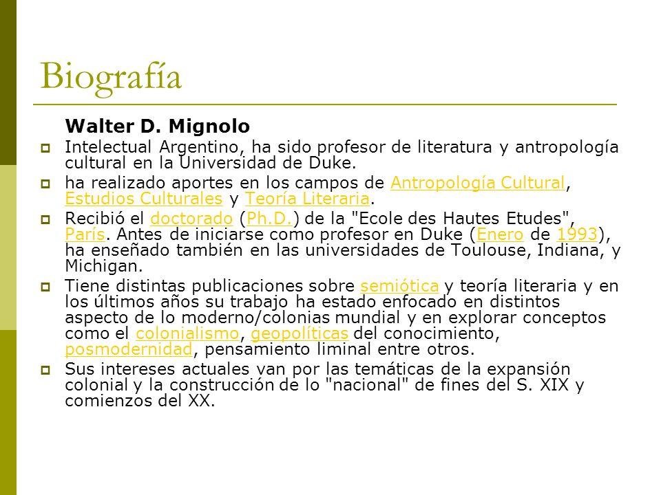 Biografía Walter D. Mignolo