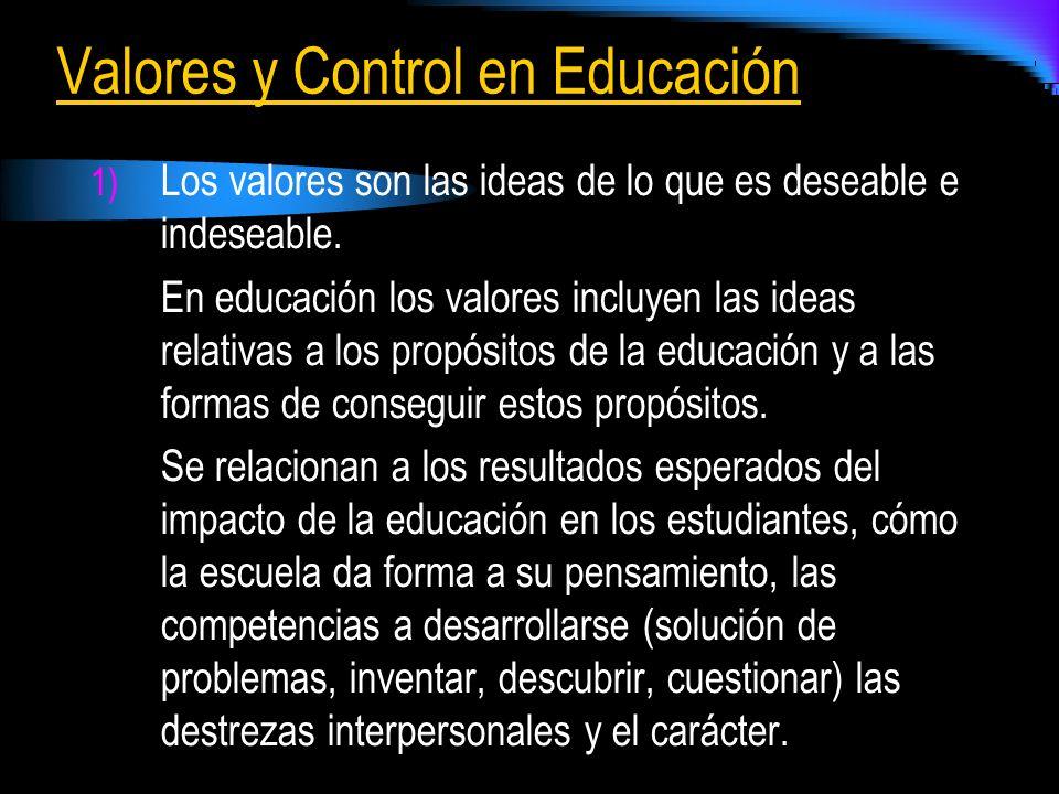 Valores y Control en Educación
