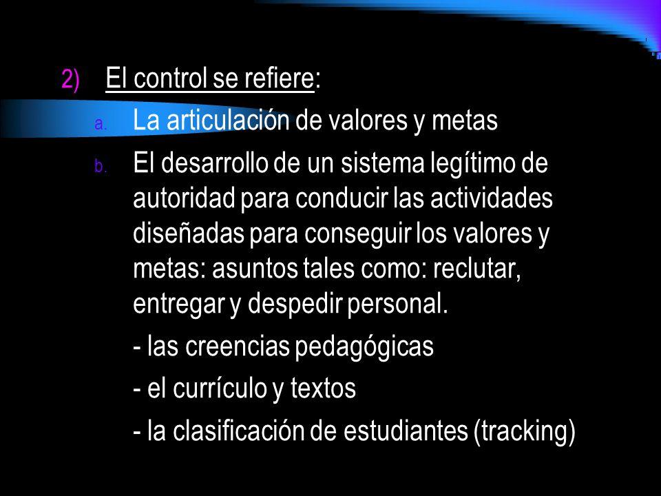 El control se refiere: La articulación de valores y metas.