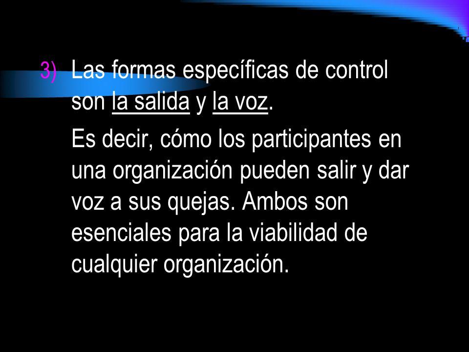 Las formas específicas de control son la salida y la voz.