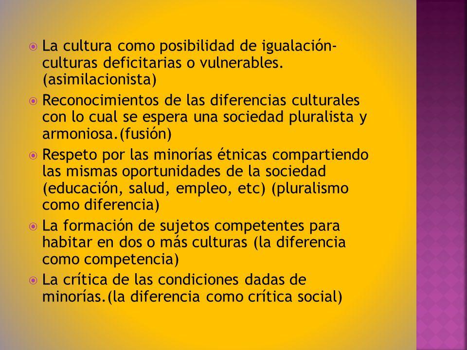 La cultura como posibilidad de igualación- culturas deficitarias o vulnerables. (asimilacionista)