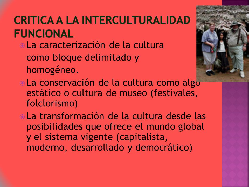 CRITICA A La interculturalidad funcional