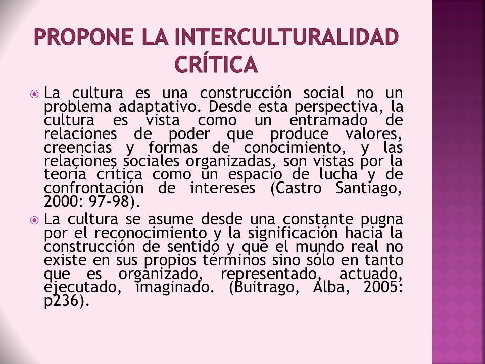 PROPONE LA Interculturalidad crítica
