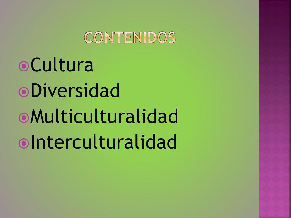 CONTENIDOS Cultura Diversidad Multiculturalidad Interculturalidad