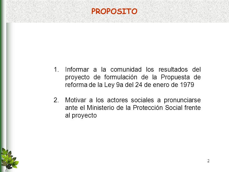 PROPOSITO Informar a la comunidad los resultados del proyecto de formulación de la Propuesta de reforma de la Ley 9a del 24 de enero de 1979.