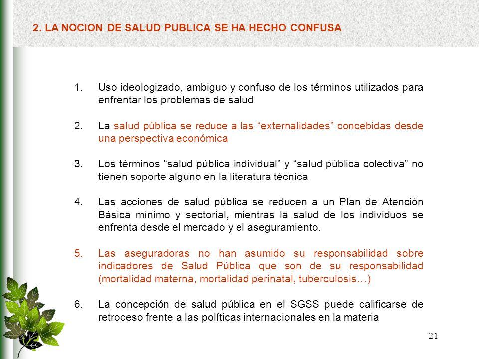 2. LA NOCION DE SALUD PUBLICA SE HA HECHO CONFUSA
