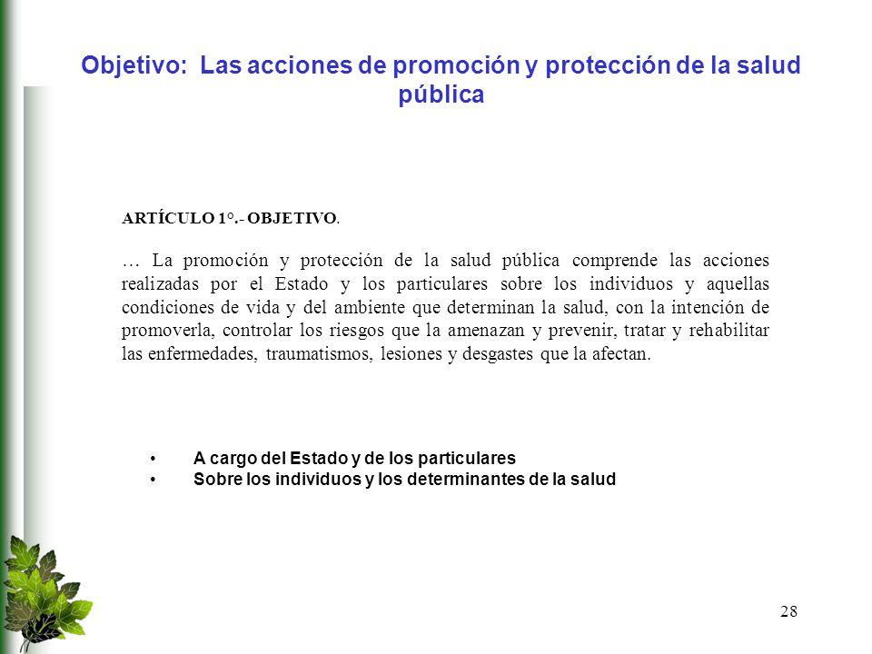 Objetivo: Las acciones de promoción y protección de la salud pública