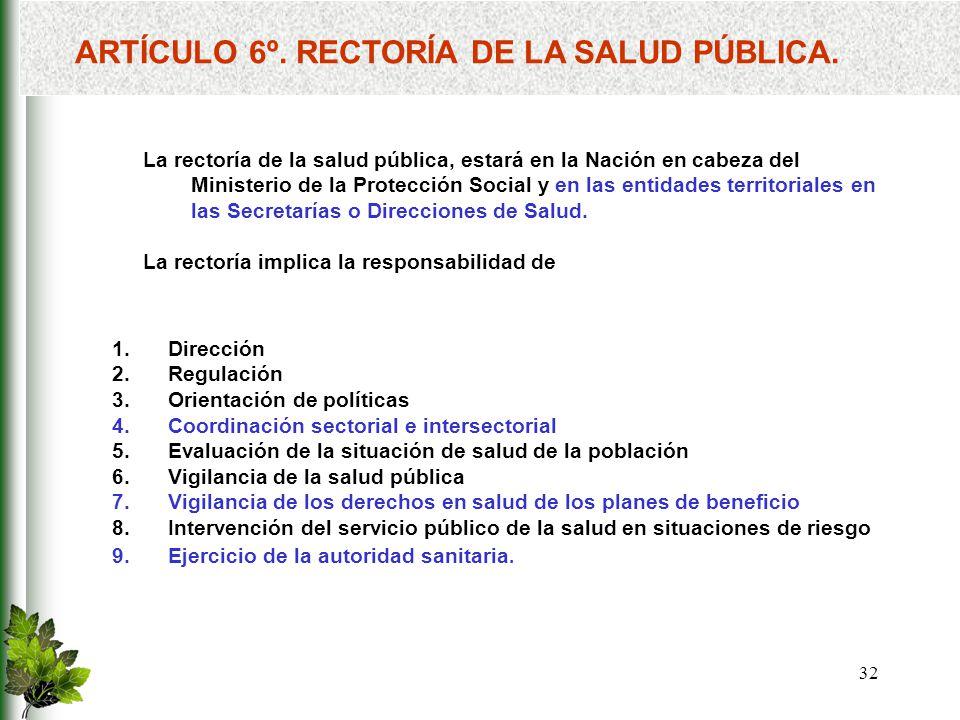 ARTÍCULO 6º. RECTORÍA DE LA SALUD PÚBLICA.