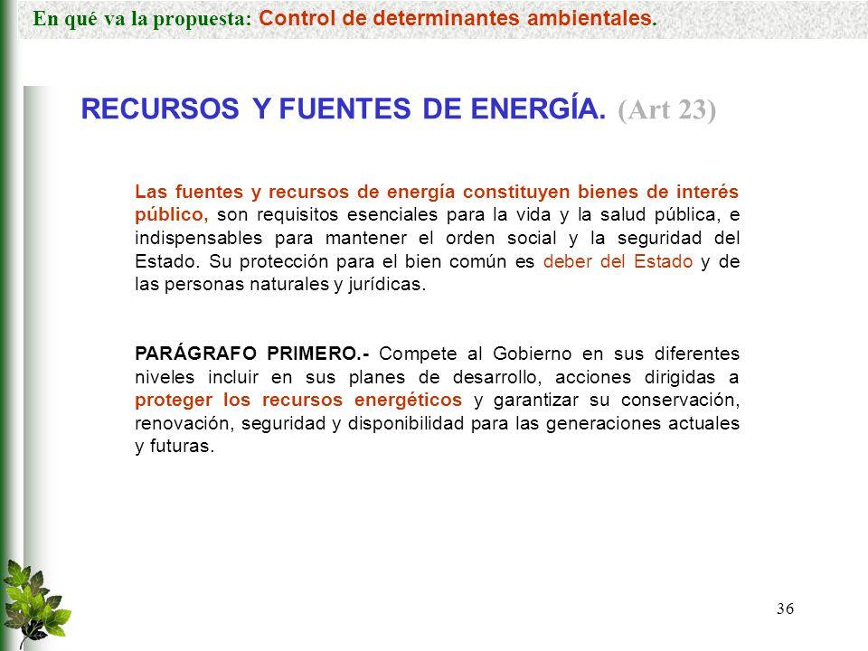 RECURSOS Y FUENTES DE ENERGÍA. (Art 23)