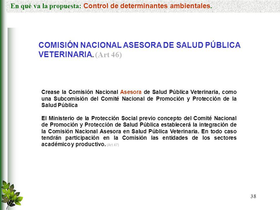 COMISIÓN NACIONAL ASESORA DE SALUD PÚBLICA VETERINARIA. (Art 46)