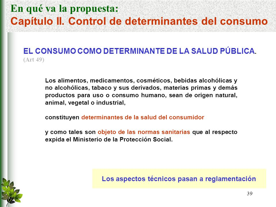 Capítulo II. Control de determinantes del consumo