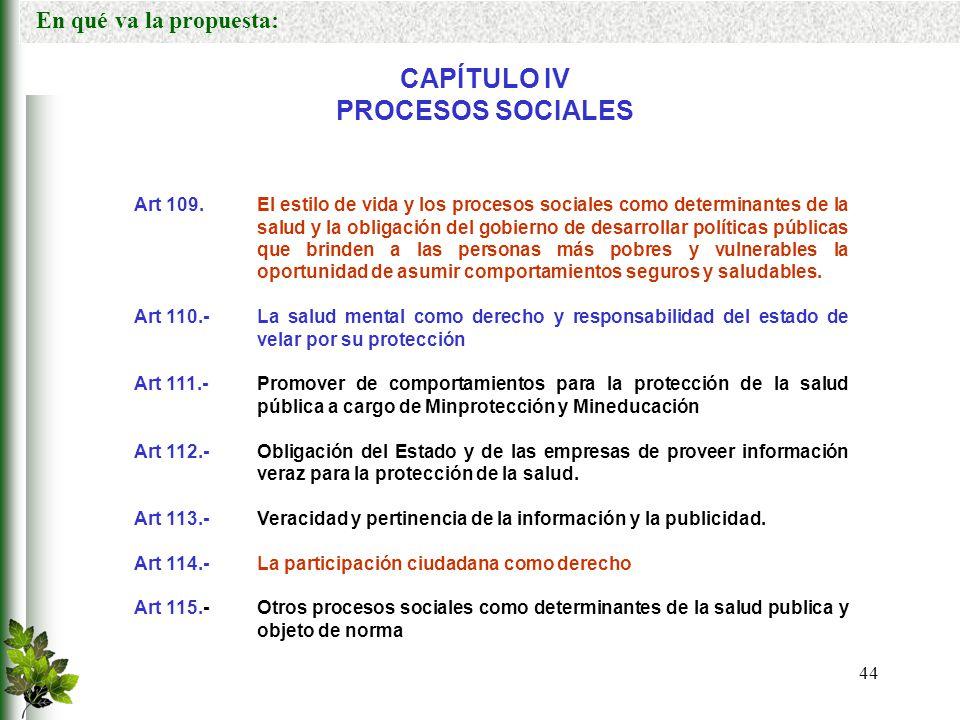 CAPÍTULO IV PROCESOS SOCIALES