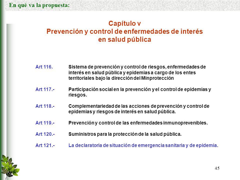 Prevención y control de enfermedades de interés en salud pública