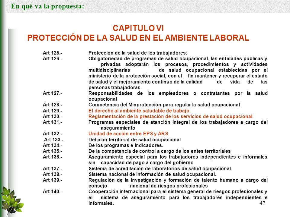 PROTECCIÓN DE LA SALUD EN EL AMBIENTE LABORAL