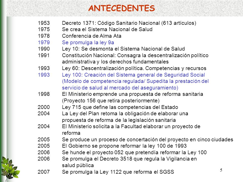 ANTECEDENTES 1953 Decreto 1371: Código Sanitario Nacional (613 artículos) 1975 Se crea el Sistema Nacional de Salud.