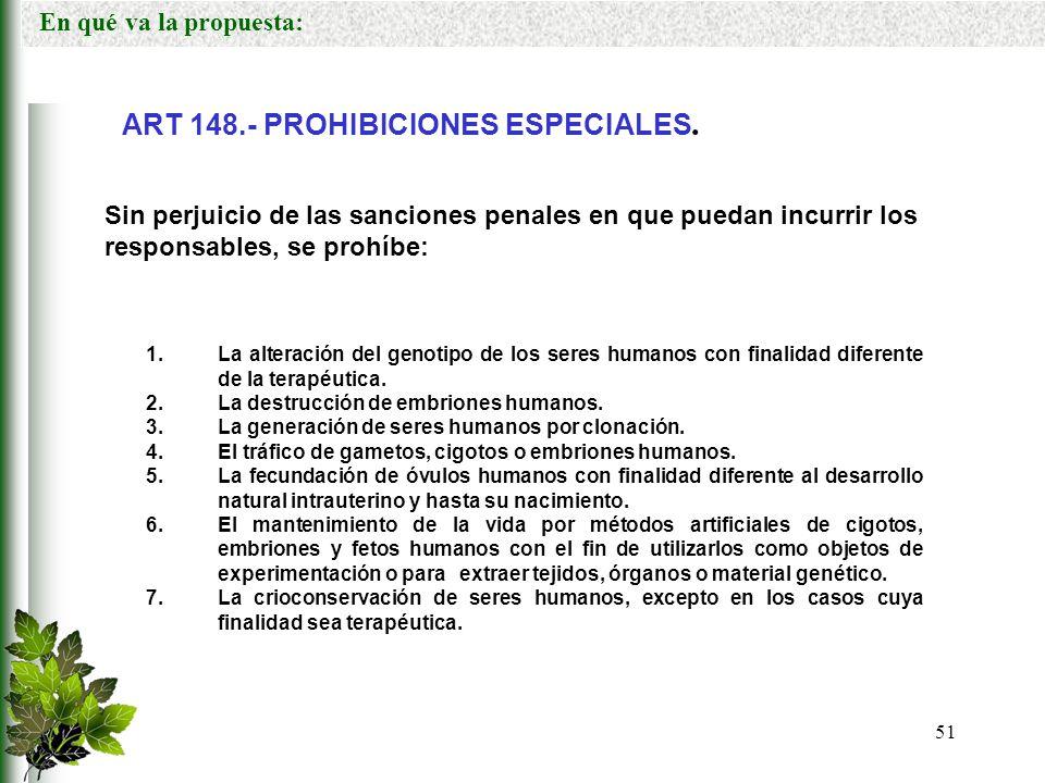 ART 148.- PROHIBICIONES ESPECIALES.